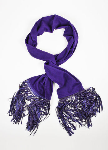 Hermes Deep Purple Cashmere and Lambskin Leather Fringe Long Scarf Shawl Frontview