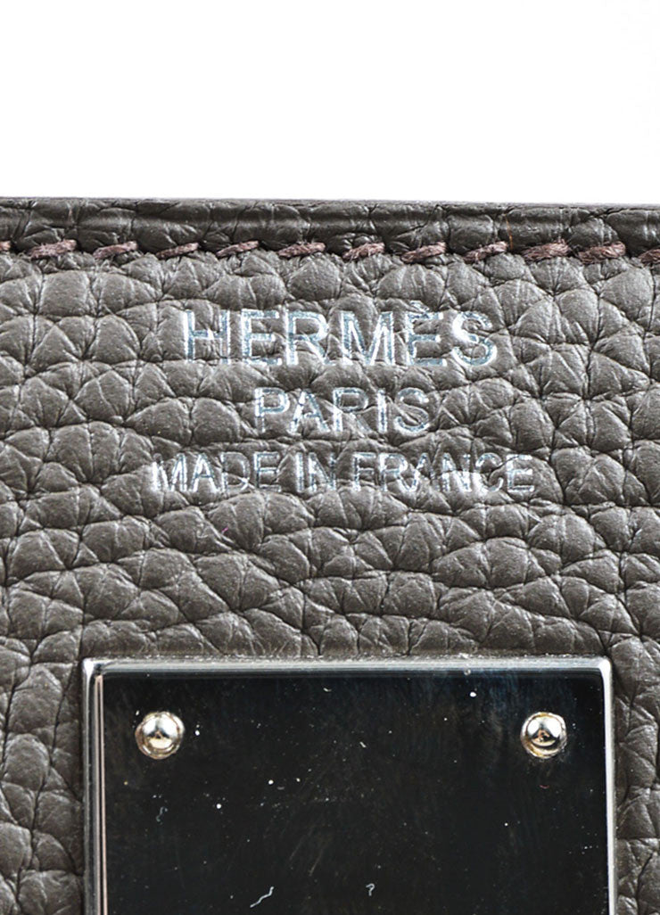 "Hermes 'Etain' Grey Clemence Leather Silver Hardware 40cm ""Kelly"" Handbag Brand"