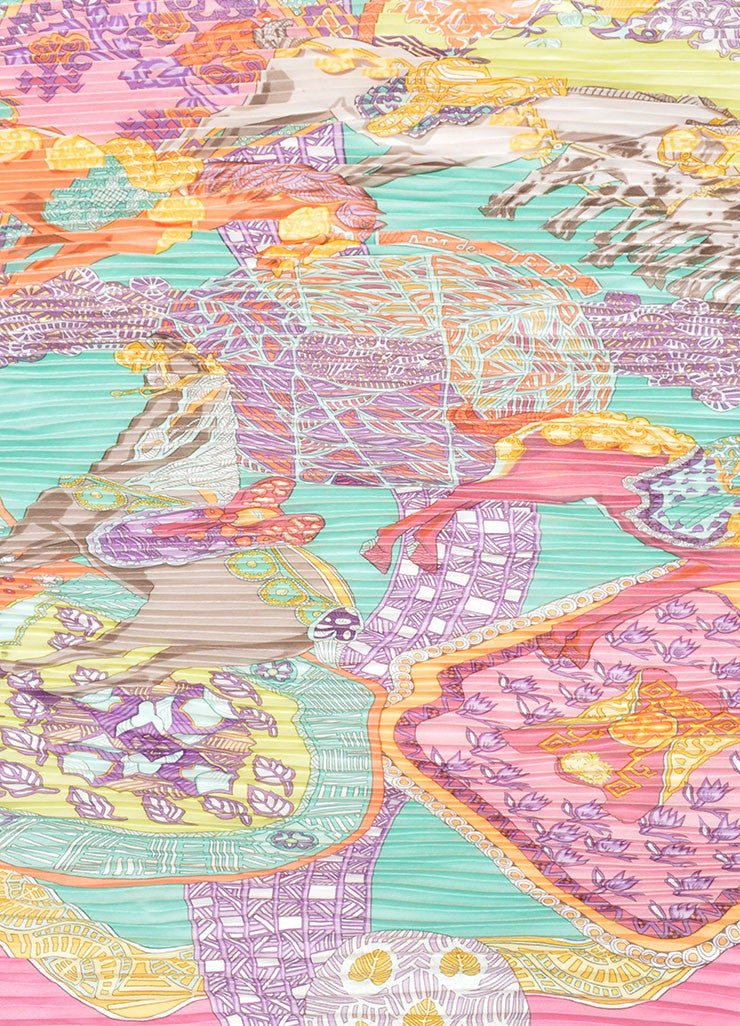 "Multicolor Silk Hermes Horse Print Pleated ""Art des Steppes"" Plisse Scarf Detail"