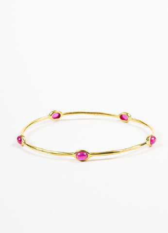 "Ippolita 18K Yellow Gold and Ruby Cabochon ""Rock Candy"" Bangle Bracelet Frontview"
