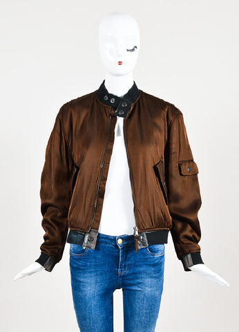 Jean Paul Gaultier Femme Brown Padded Long Sleeve Bomber Jacket Frontview