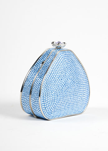 Judith Leiber Blue Crystal Chain Strap Small Minaudiere Purse Sideview