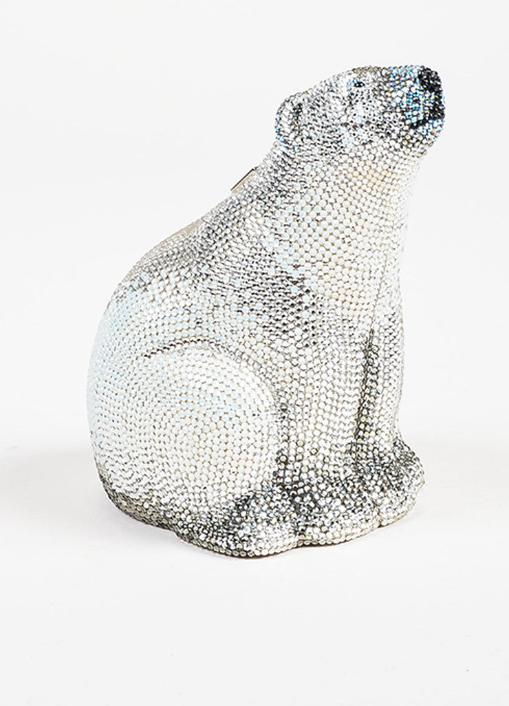 Judith Leiber Couture Silver Rhinestone Polar Bear Chain Strap Clutch Bag Frontview