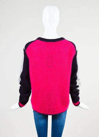 Grey, Purple, and Fuchsia Kenzo Mohair Blend Knit Pullover Sweater Backview