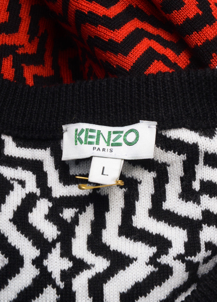 Kenzo New With Tags Black, White, and Red Wool Beaded Zig Zag Knit Sweater Brand