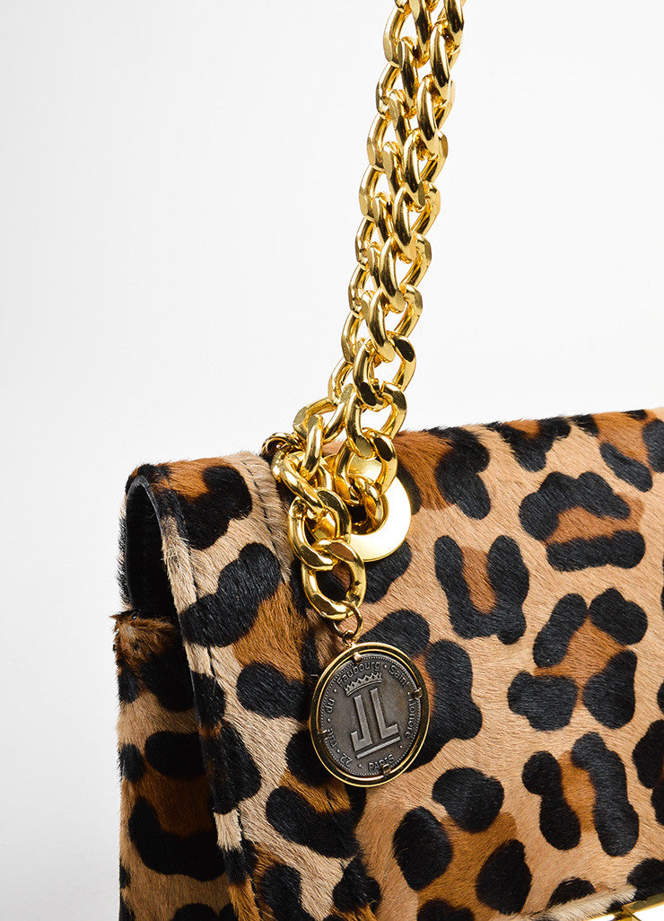 Brown and Black Lanvin Pony Hair Leather Leopard Print Chain Strap Shoulder Bag Detail 2