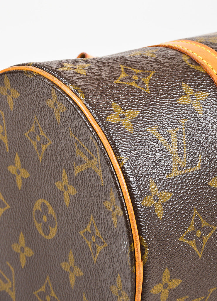 "Louis Vuitton Brown and Tan Coated Canvas Monogram ""Papillon"" Duffle Bag Detail"
