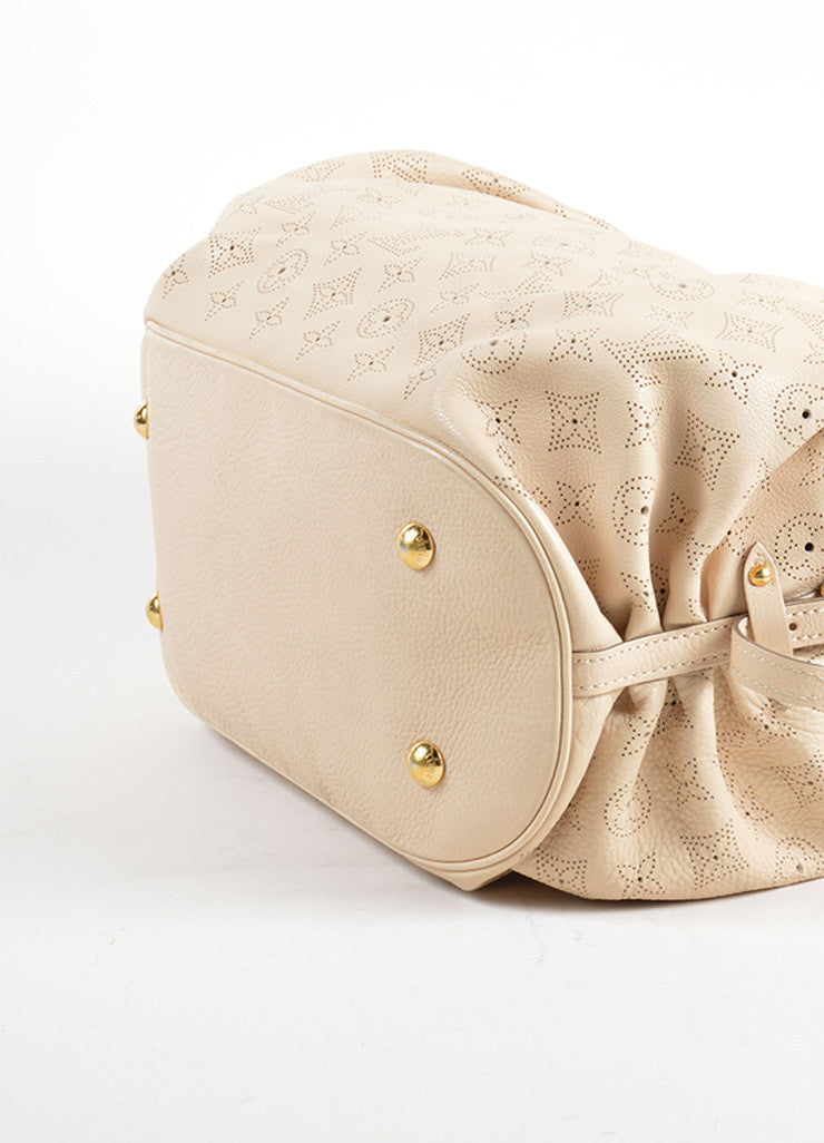 "Louis Vuitton Beige ""Sandy"" Perforated Monogram Leather ""Mahina L"" Shoulder Bag Bottom View"