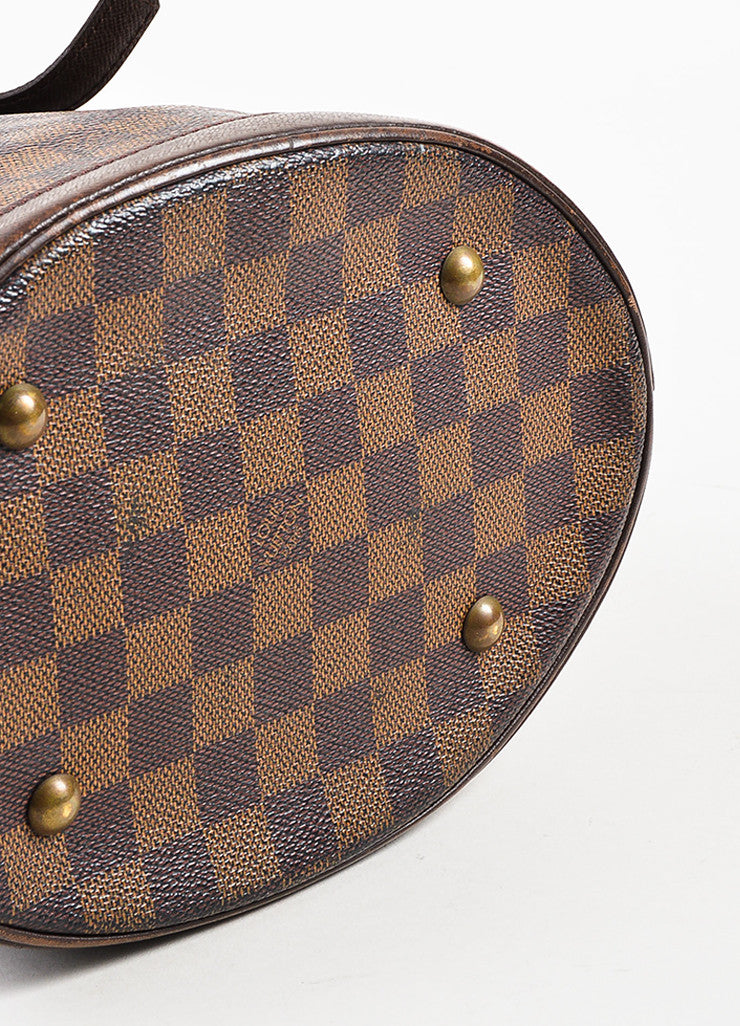 "Louis Vuitton Brown and Gold Toned ""Damier Ebene"" Coated Canvas ""Petit Bucket"" Bag Bottom view"