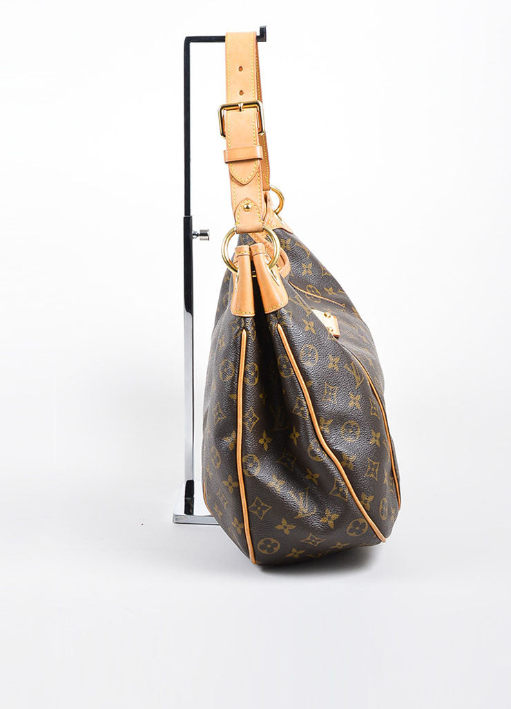 "Brown and Tan Louis Vuitton Coated Canvas and Leather Monogram ""Galliera PM"" Hobo Bag Sideview"