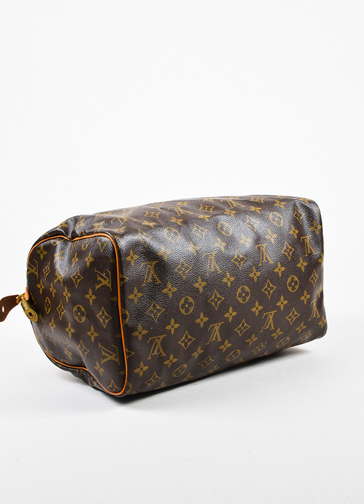 "Louis Vuitton Brown Tan Coated Canvas and Leather Monogram ""Speedy 30"" Bag Bottom View"