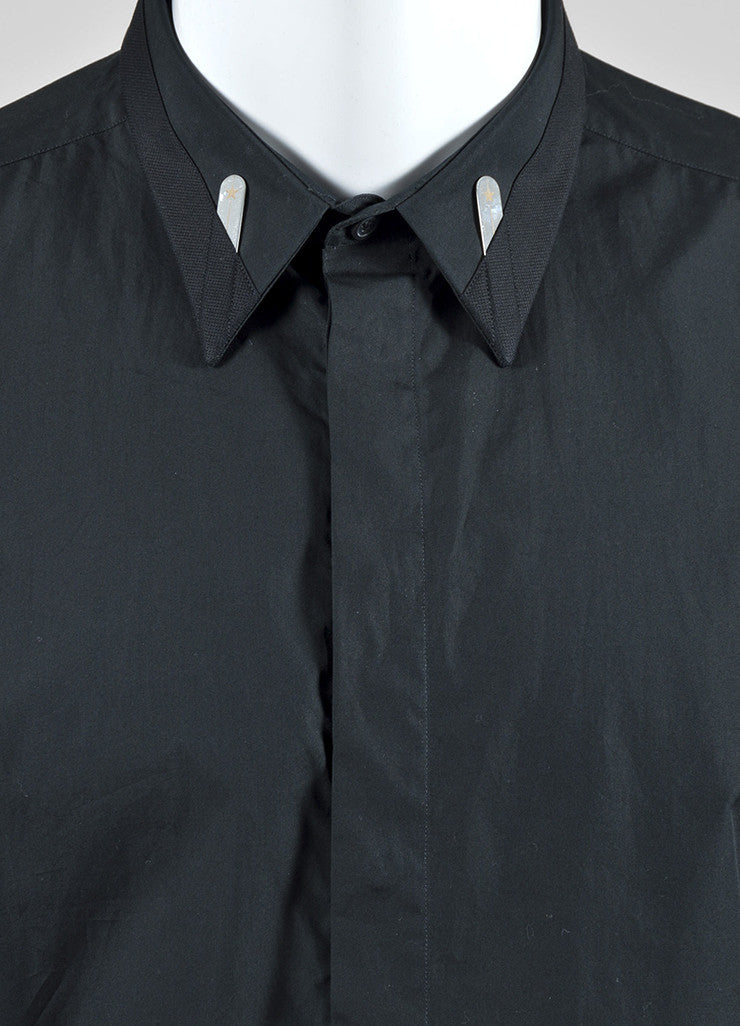 Men's Black Givenchy Cotton Cuban Fit Button Down Long Sleeve Shirt Detail