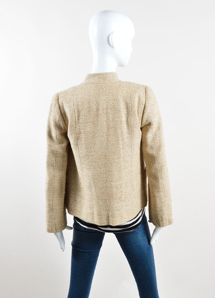 Marc Jacobs Gold Metallic Knit Sequin Palm Tree Jacket Backview