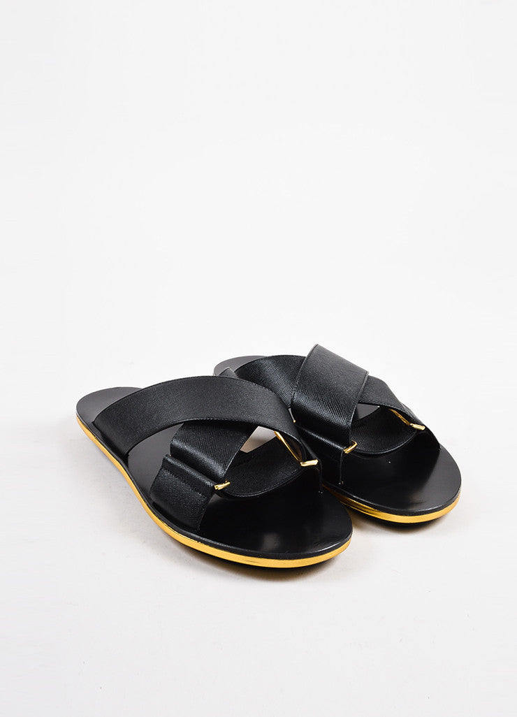 Marni Black and Metallic Gold Saffiano Leather Crisscross Flat Sandals Frontview