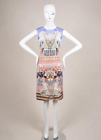 Mary Katrantzou New With Tags Blue, Pink, and Multicolor Floral Horse Print Dress Frontview