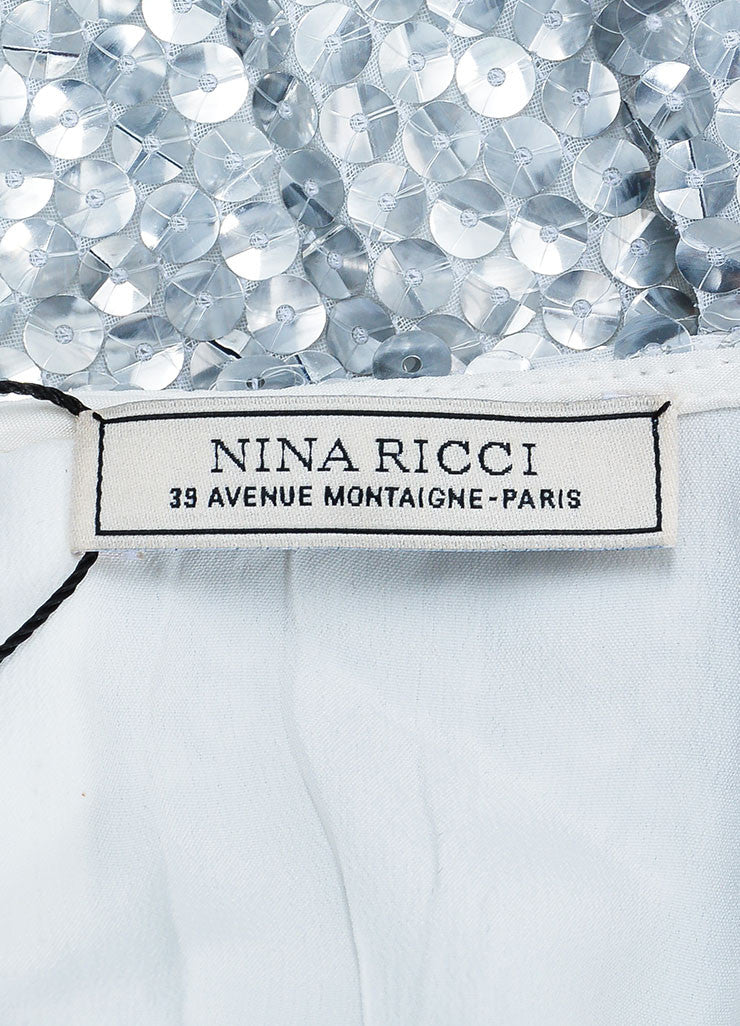 Silver Nina Ricci Silk and Shimmering Sequin A-Line Skirt Brand