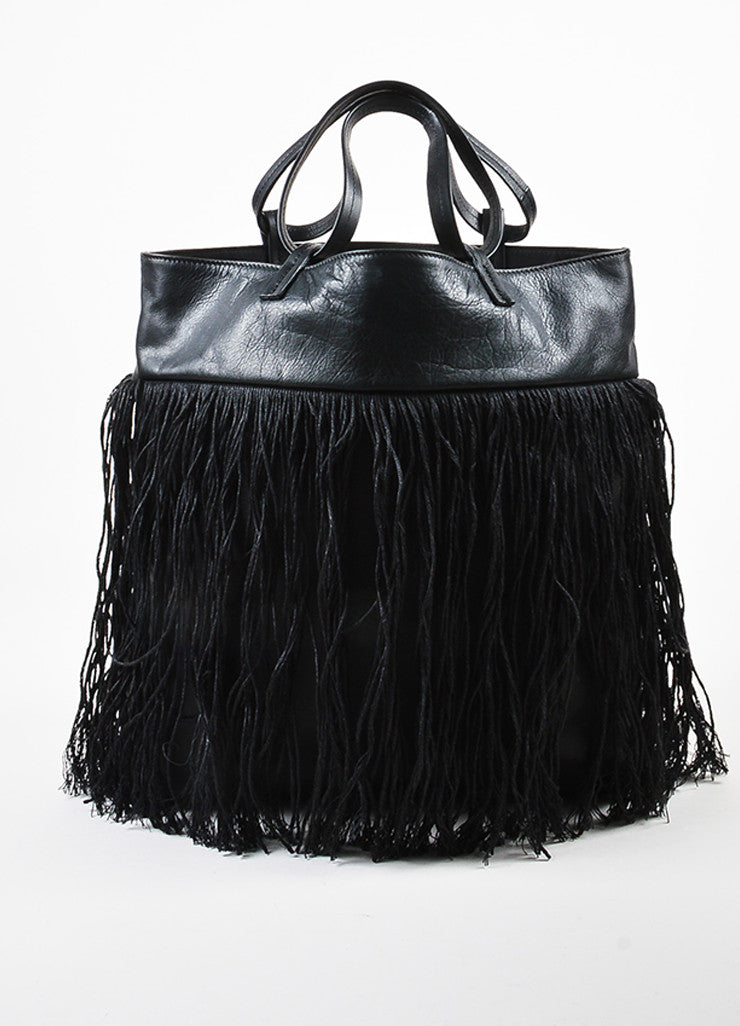 Pomandere Black Leather Linen Woven Fringe Trim Shoulder Tote Bag Frontview