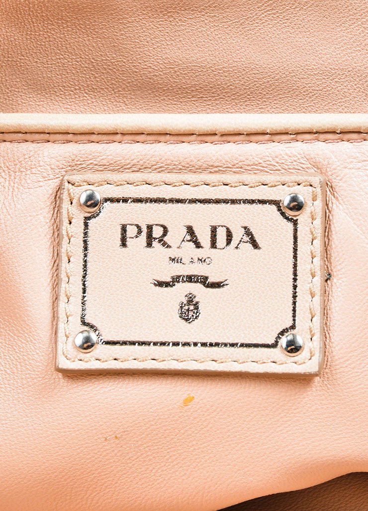 "Blush Prada Leather Ruched ""Napa Gaufre"" Large Clutch Brand"