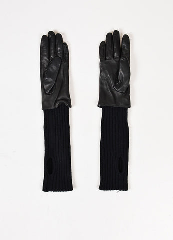 "Soia & Kyo Black Leather Wool Knit ""Carmel"" Gloves Backview"