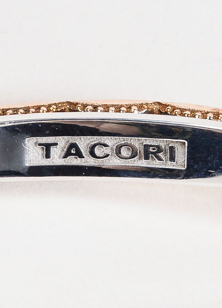 Tacori Sterling Silver and 18K Rose Gold Promise Lock Key Bangle Bracelet Brand