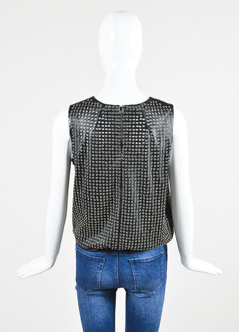 Tamara Mellon Black and Silver Toned Leather Eyelet Sleeveless Top Backview