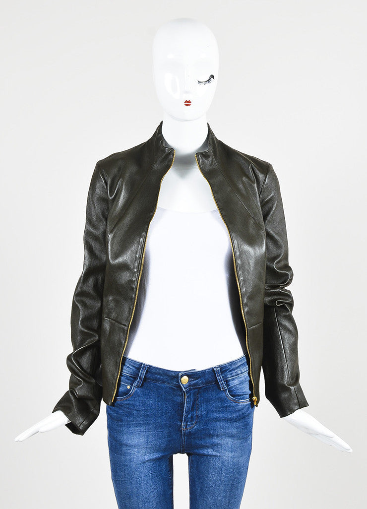 "The Row Dark Brown Leather ""Loden"" Collarless Jacket Frontview"