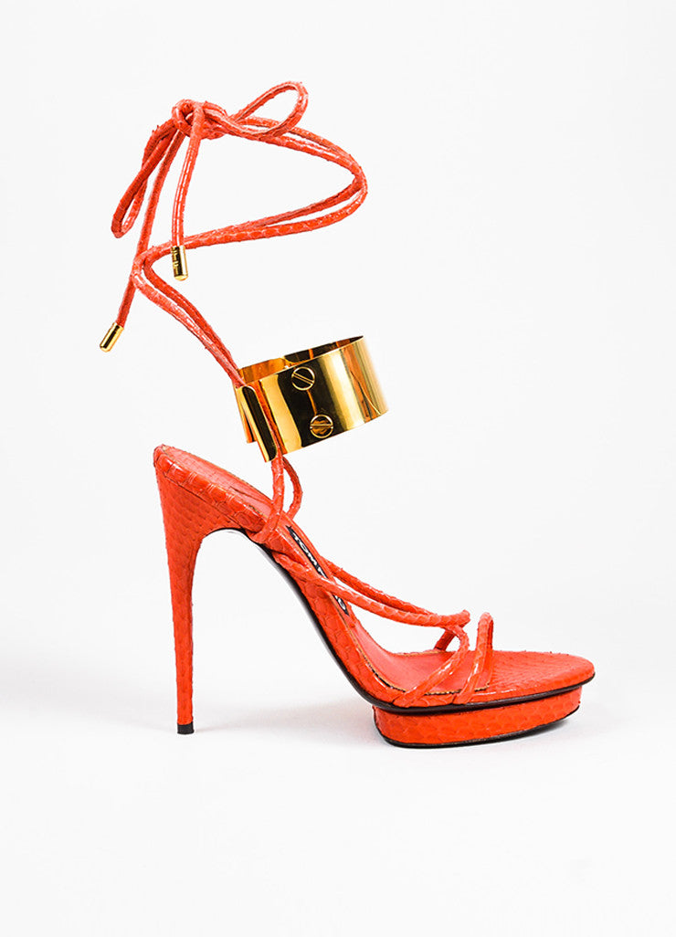 Tom Ford Red Snakeskin Ankle Wrap Platform Sandals Sideview