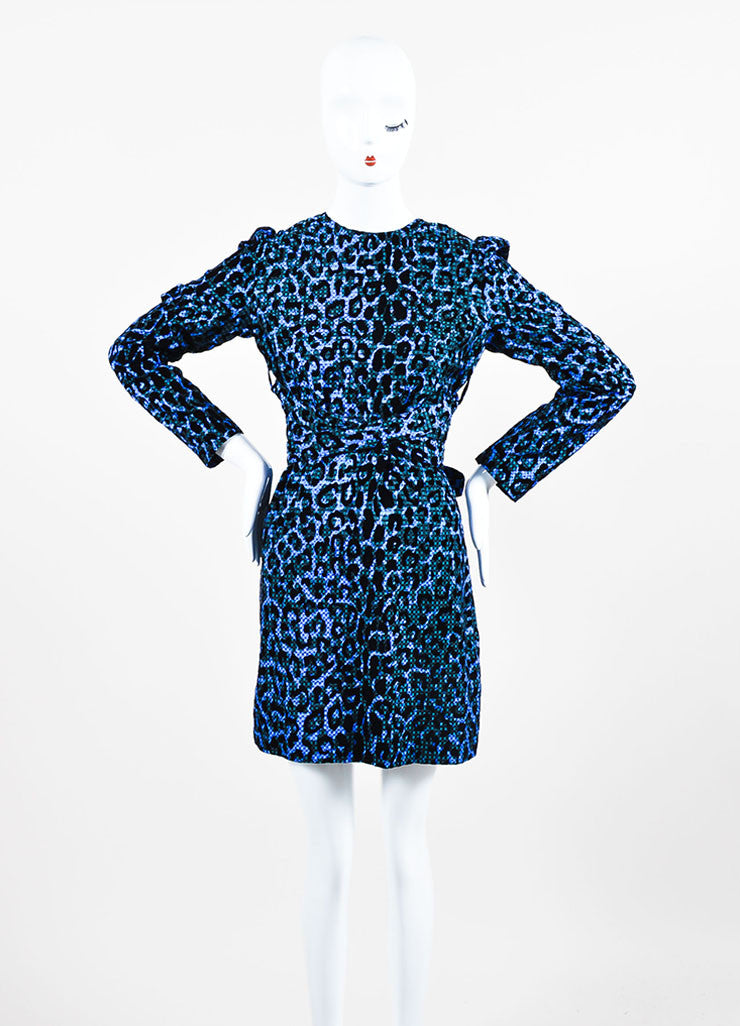 Blue and Black VICTORIA Victoria Beckham Velvet Leopard Gingham Belt Dress Frontview