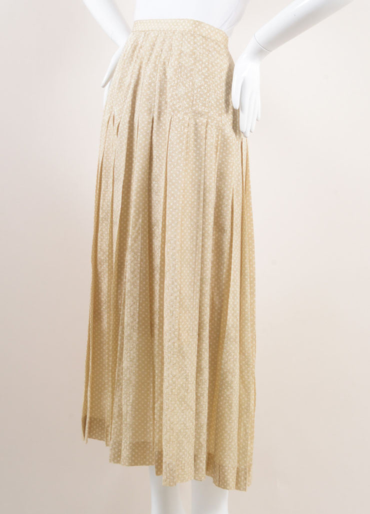 Chanel Beige and White Polka Dot Jacquard Pleated Silk Skirt Sideview