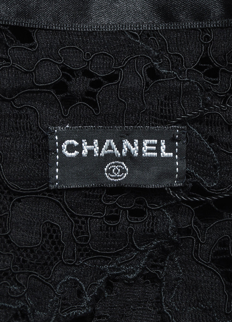 Chanel Black Lace Satin Camellia Pearl Flower Button Jacket Brand