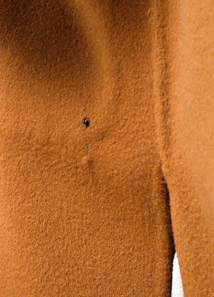 Revillon Camel Wool Fur Trim Collar Open Long Coat Detail 3