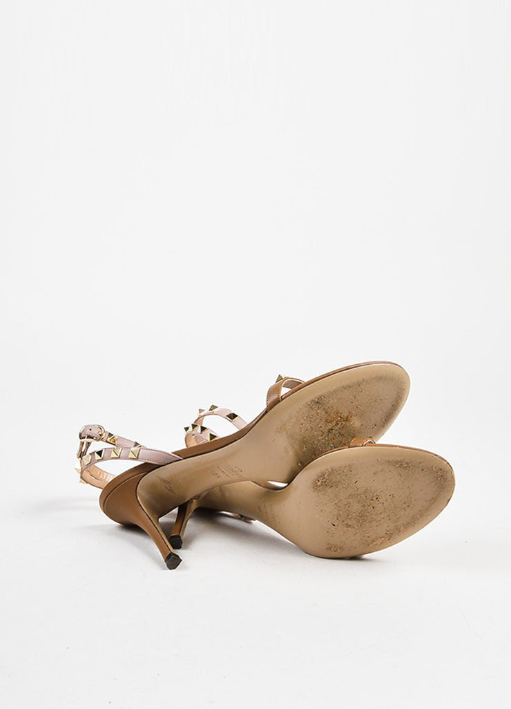 "Valentino Nude Taupe Leather Ankle Strap ""Rockstud"" Heeled Sandals outsoles"