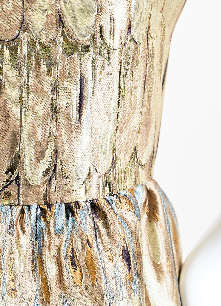 Multicolor Valentino Feather Print Jacquard Weave Short Sleeve Dress Detail