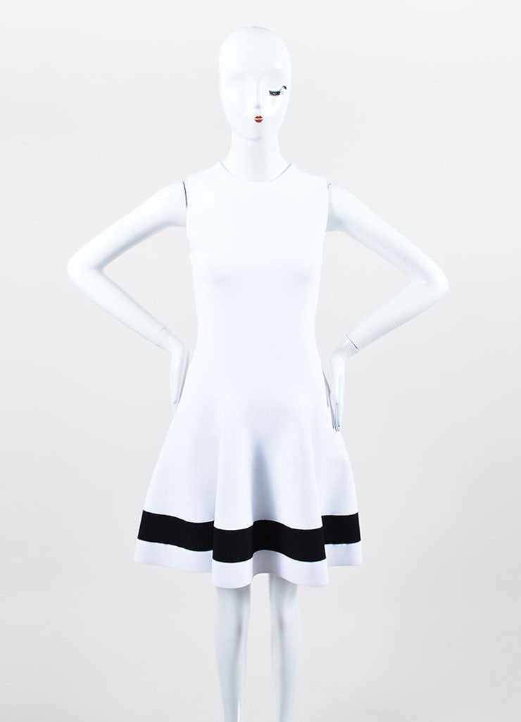 White and Black Victoria Beckham Stripe Sleeveless Fit and Flare Dress Frontview