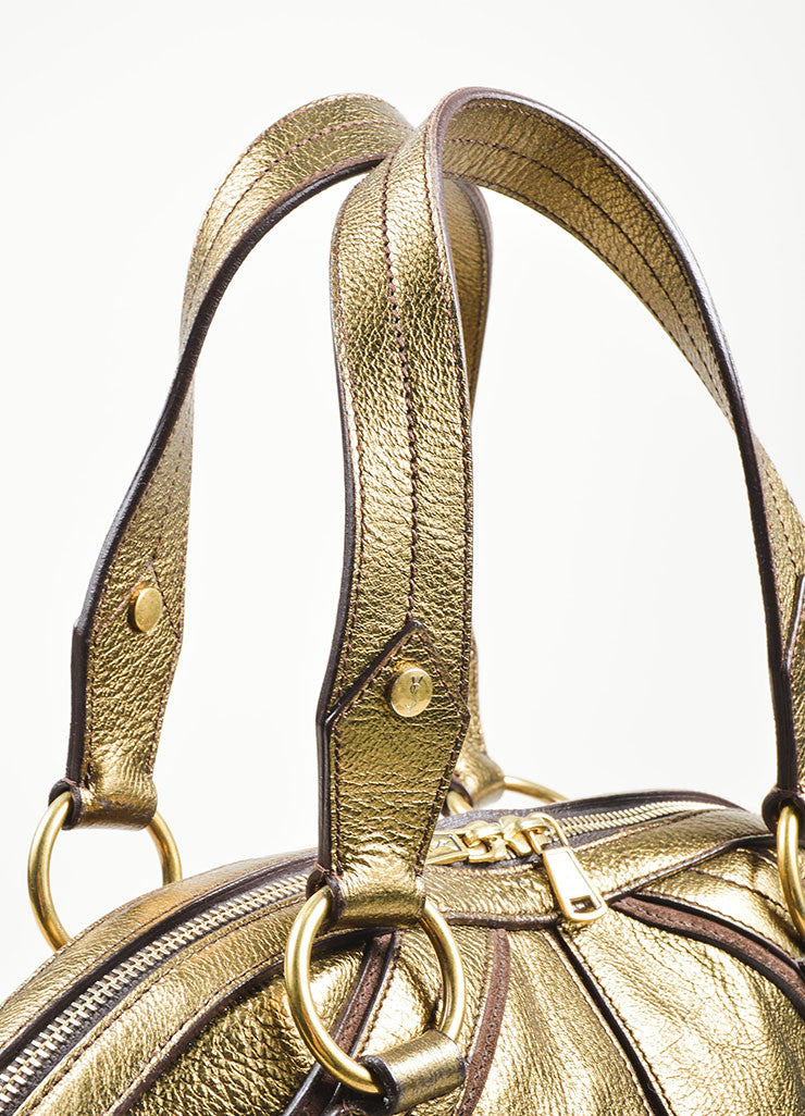 Gold Metallic Yves Saint Laurent Leather Tote Bag Detail 2