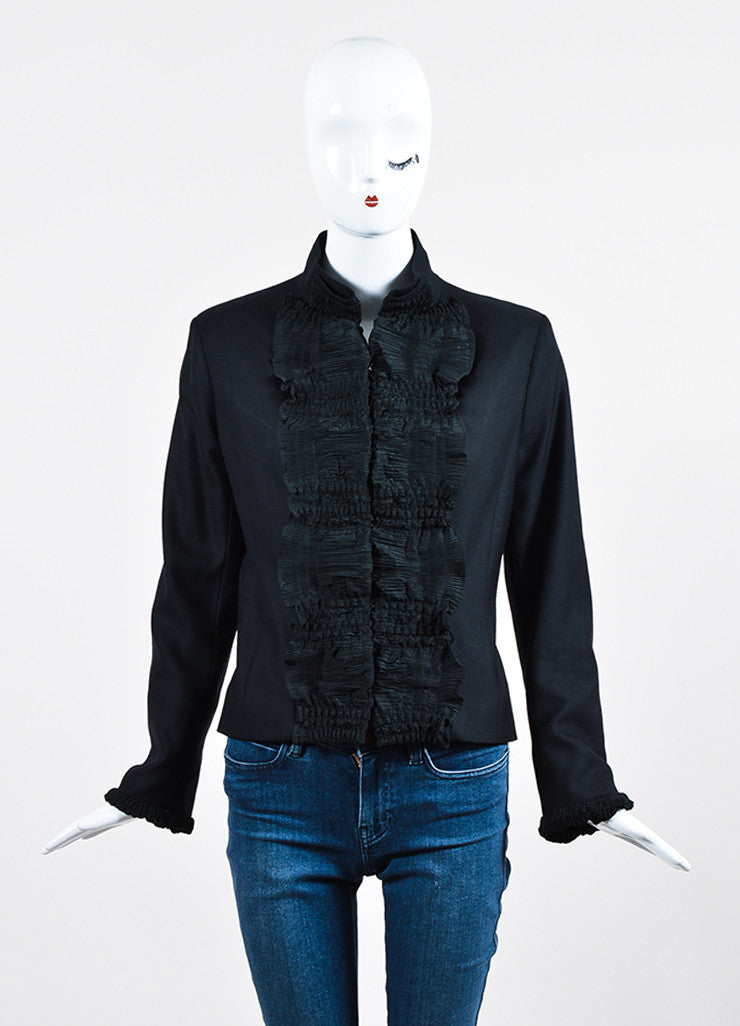 Black Yves Saint Laurent Wool Pleated Ruffle Trim Jacket Frontview 2