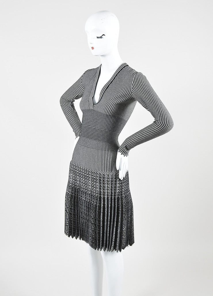 White and Black Alaia Wool Spot Striped Pleated Scalloped Long Sleeve Dress Sideview