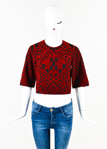 Alexander McQueen Black Red Cotton Velvet Boxy Cropped Sleeve Crop Top Front