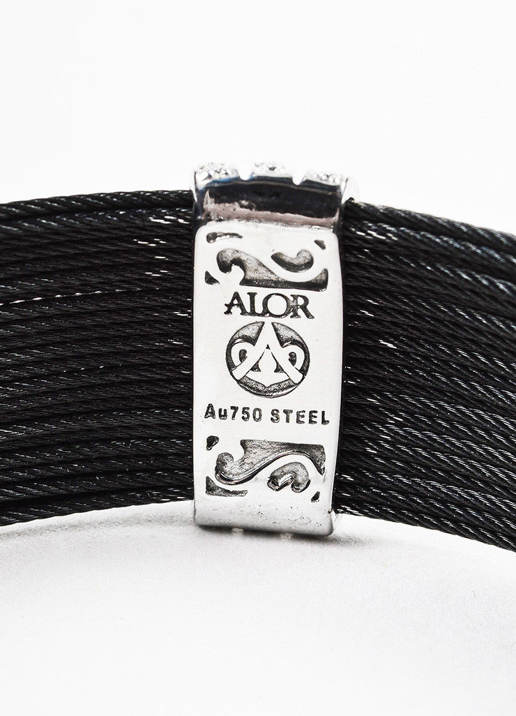 Alor Black Stainless Steel 18K White Gold Diamond Cable Bracelet Brand