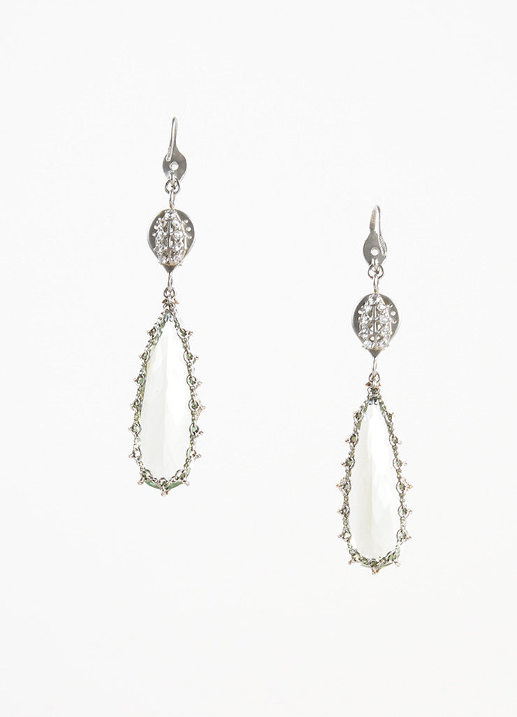 Anthony Nak Platinum, Diamonds and Green Prasiolite Drop Earrings Backview