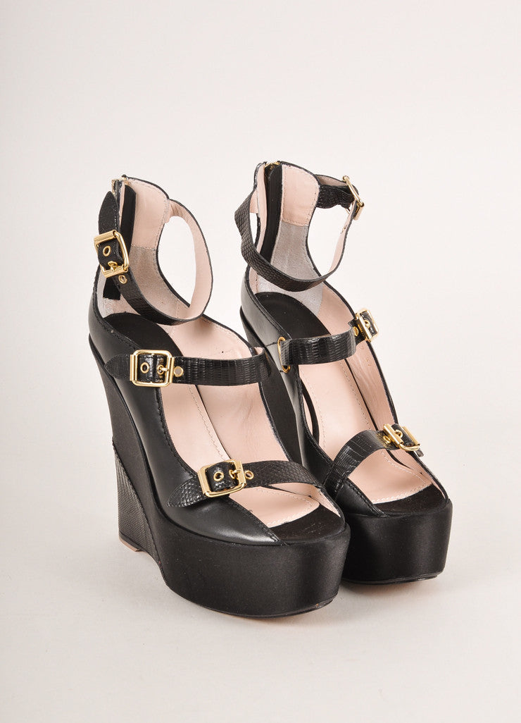 Baldan Black and Gold Toned Triple Buckled Strap Leather and Satin Wedges Frontview