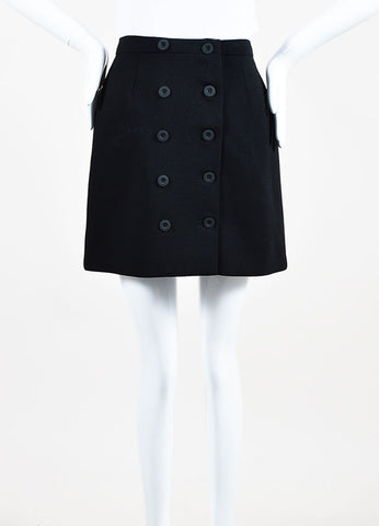 Balenciaga Black Virgin Wool Button Front Mini A-Line Skirt Frontview