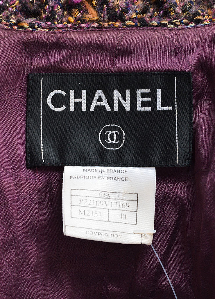 Chanel Dark Purple Wool and Mohair Tweed Ruffle Trim Jacket Brand