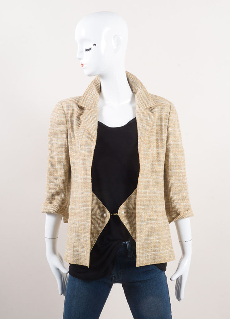 "Chanel New With Tags Beige Linen Faux Pearl ""CC"" Button Jacket Frontview"