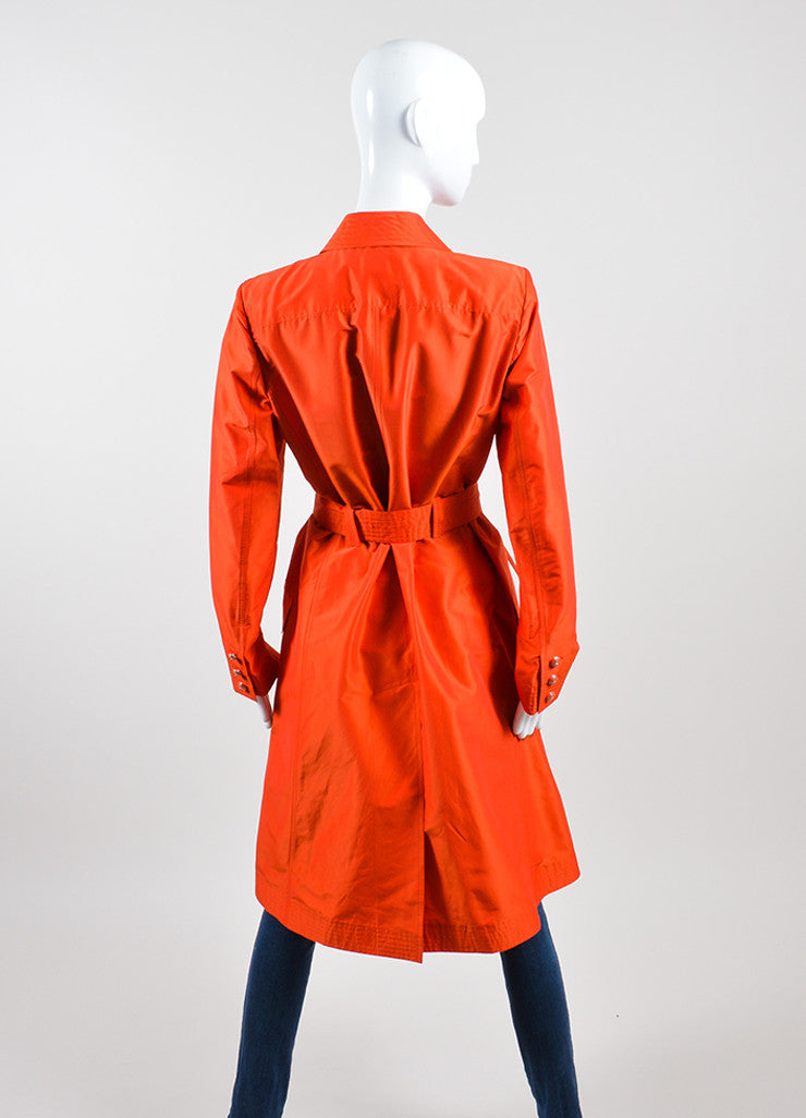 Tomato Red Chanel Silk Belted Trench Jacket Backview