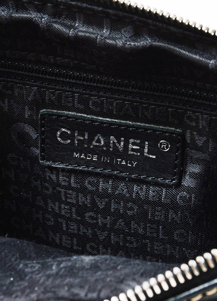 "Chanel Black Leather White Stitch Chain ""LAX Accordion Camera"" Shoulder Bag"