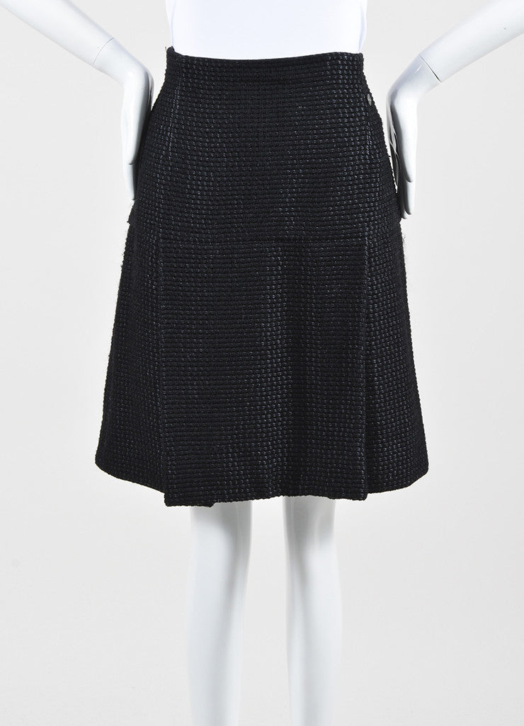 Black Chanel Wool and Silk Tweed Pleated A-Line Skirt Frontview