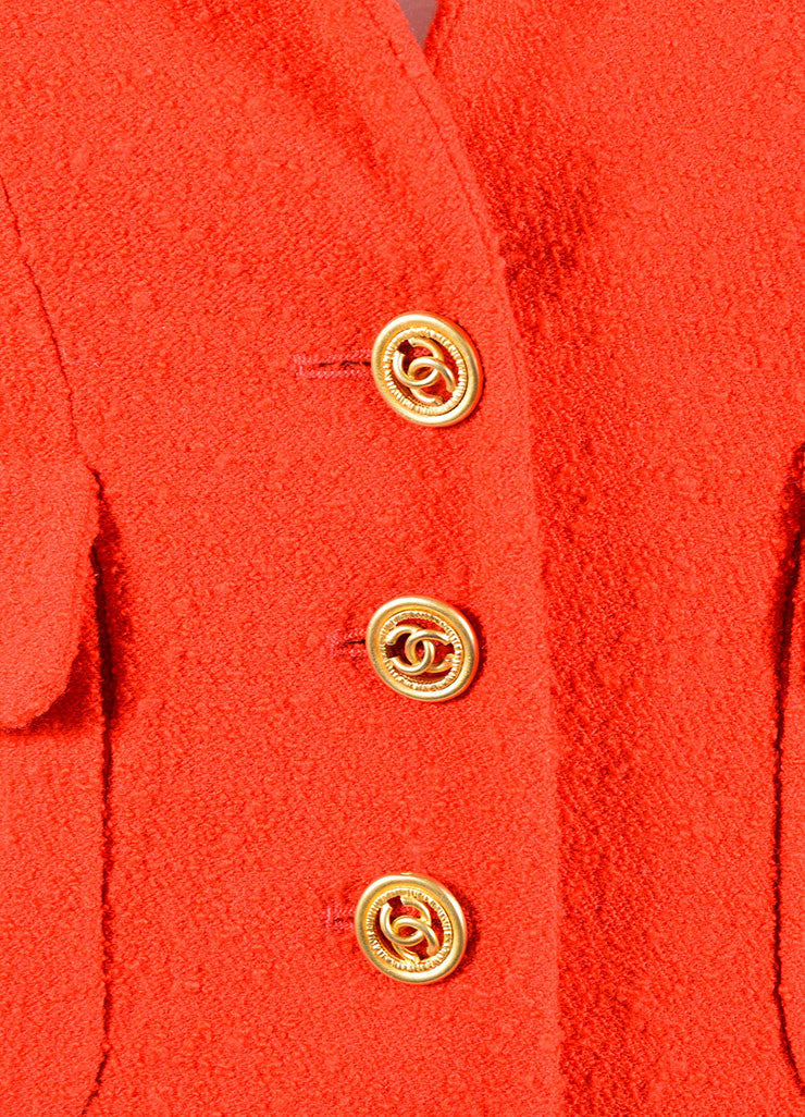 "Chanel Red Boucle ""CC"" Logo Button Cropped Blazer Detail"