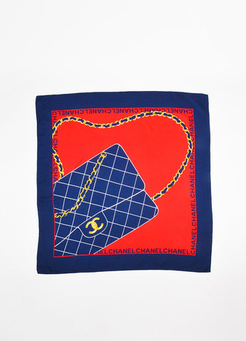 Chanel Red and Navy Blue Silk Quilted Bag Chain Print Square Scarf Frontview 2