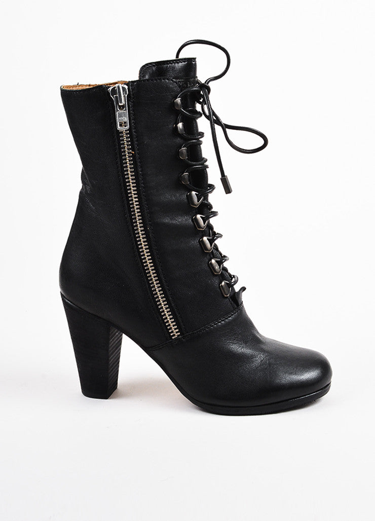 "Chloe Black Leather Lace Up Block Heel ""Punky"" Zip Short Boots Sideview"